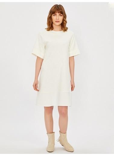 Vekem-Limited Edition Sıfır Yaka Rahat Kesim Elbise Ekru
